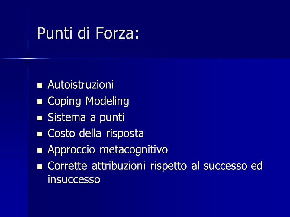 Punti di Forza: Autoistruzioni Coping Modeling Sistema a punti