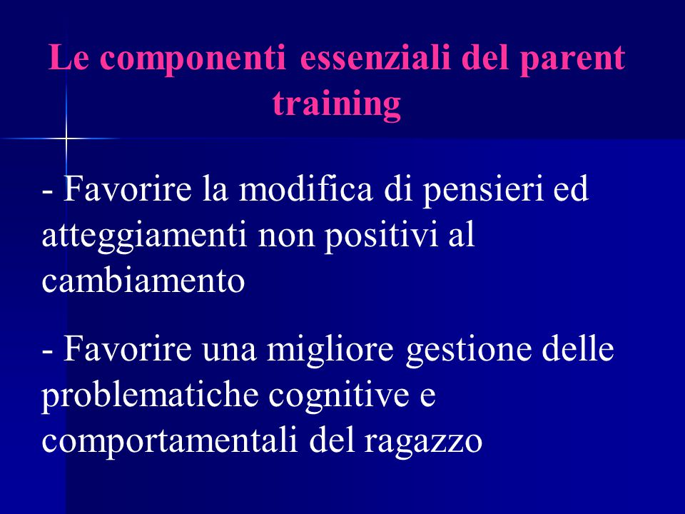 Le componenti essenziali del parent training