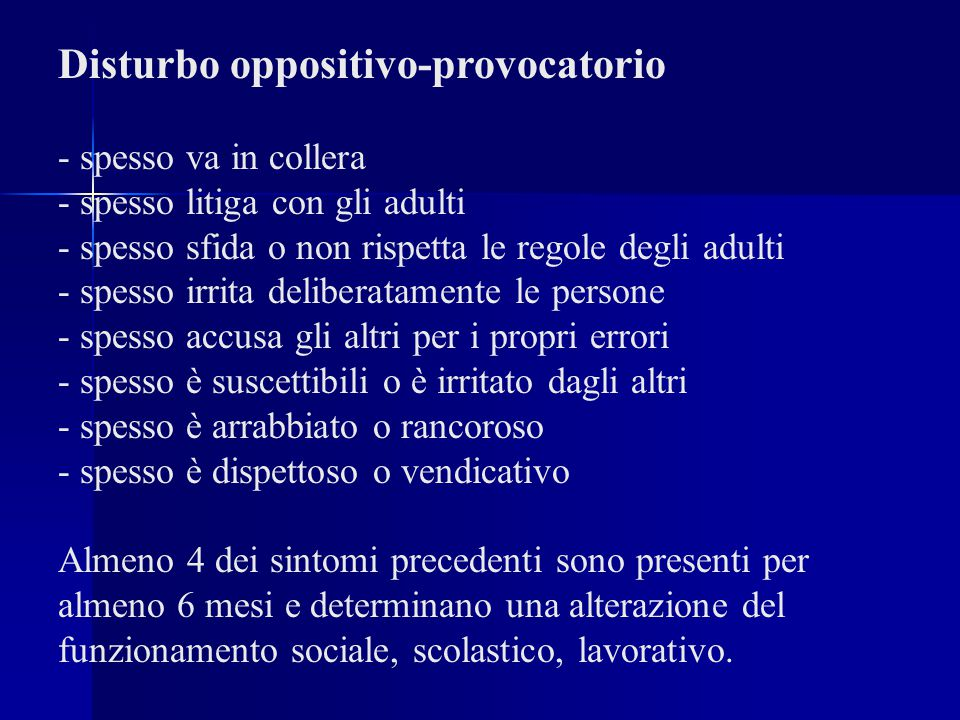 Disturbo oppositivo-provocatorio