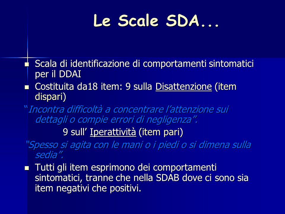 Le Scale SDA... Scala di identificazione di comportamenti sintomatici per il DDAI. Costituita da18 item: 9 sulla Disattenzione (item dispari)