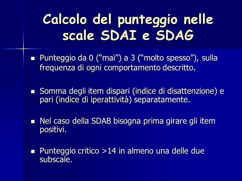 Calcolo del punteggio nelle scale SDAI e SDAG