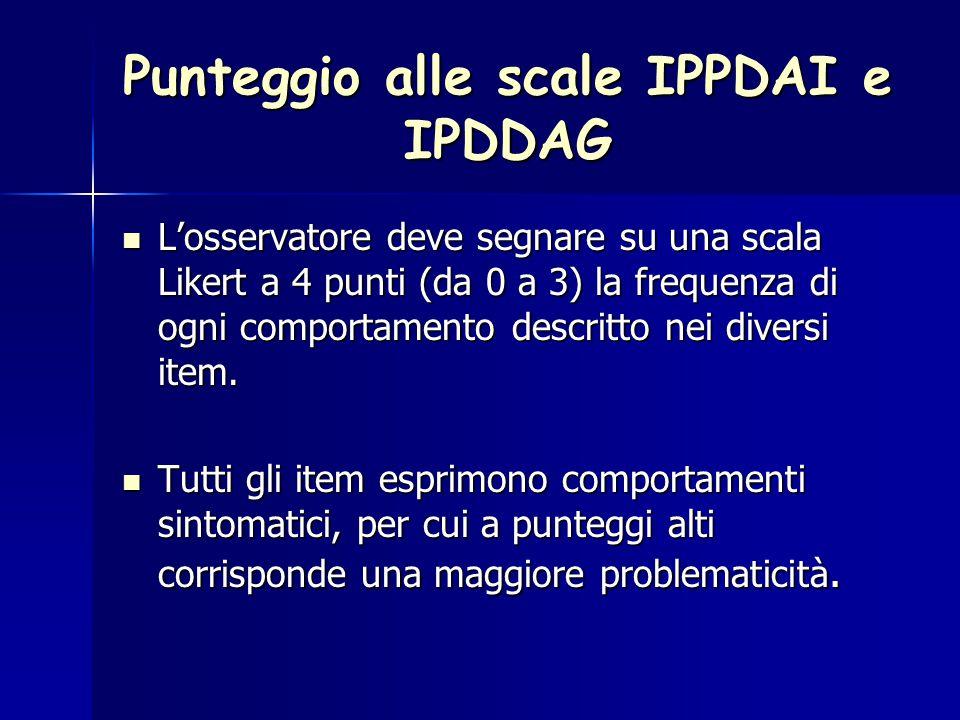 Punteggio alle scale IPPDAI e IPDDAG