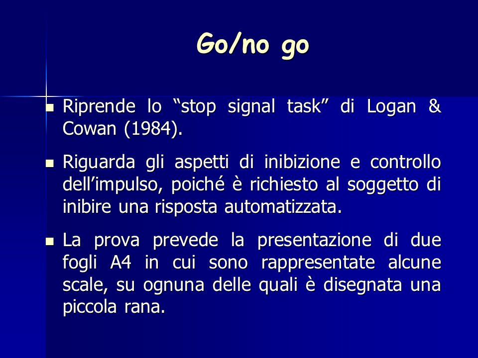 Go/no go Riprende lo stop signal task di Logan & Cowan (1984).