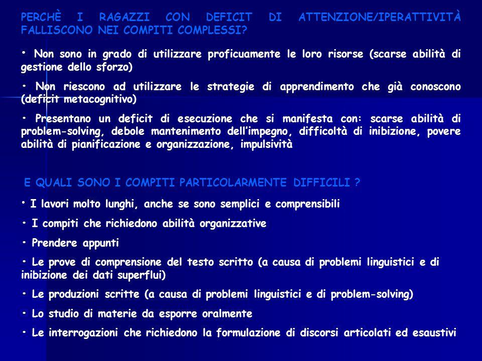 PERCHÈ I RAGAZZI CON DEFICIT DI ATTENZIONE/IPERATTIVITÀ FALLISCONO NEI COMPITI COMPLESSI