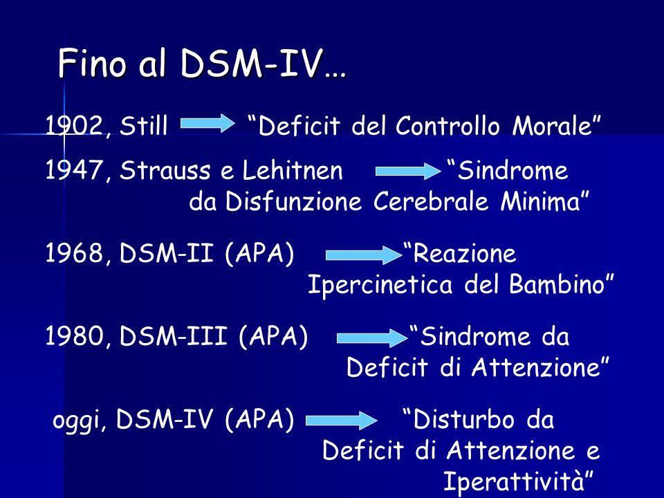 Fino al DSM-IV… 1902, Still Deficit del Controllo Morale