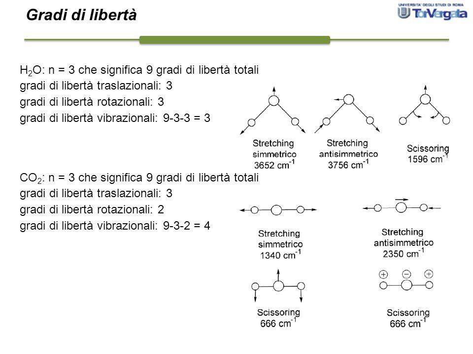 Gradi di libertà H2O: n = 3 che significa 9 gradi di libertà totali