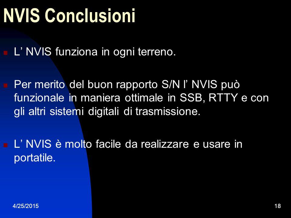NVIS Conclusioni L' NVIS funziona in ogni terreno.