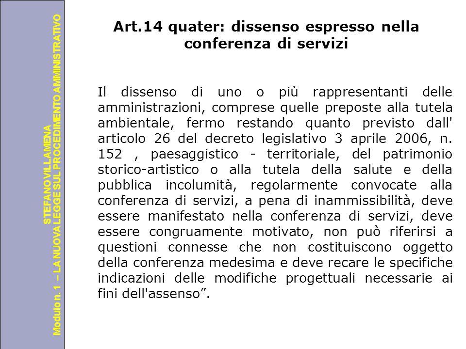 Art.14 quater: dissenso espresso nella conferenza di servizi