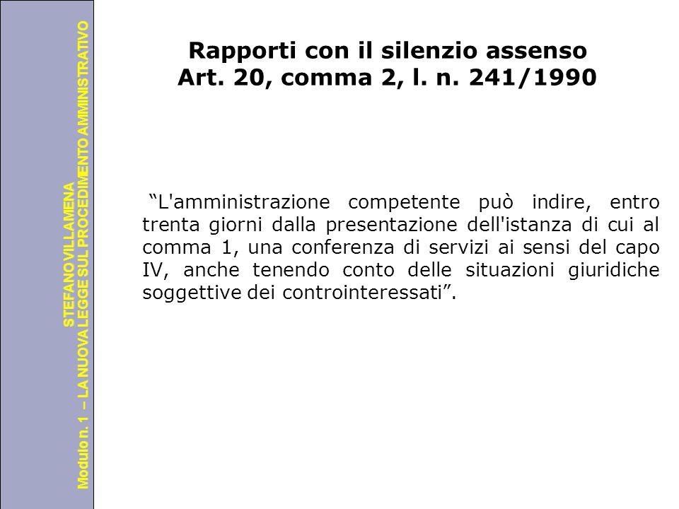 Rapporti con il silenzio assenso Art. 20, comma 2, l. n. 241/1990