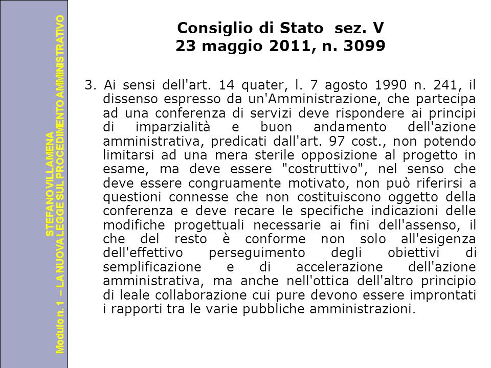 Consiglio di Stato sez. V 23 maggio 2011, n. 3099