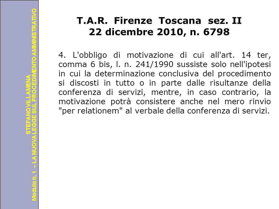 T.A.R. Firenze Toscana sez. II 22 dicembre 2010, n. 6798