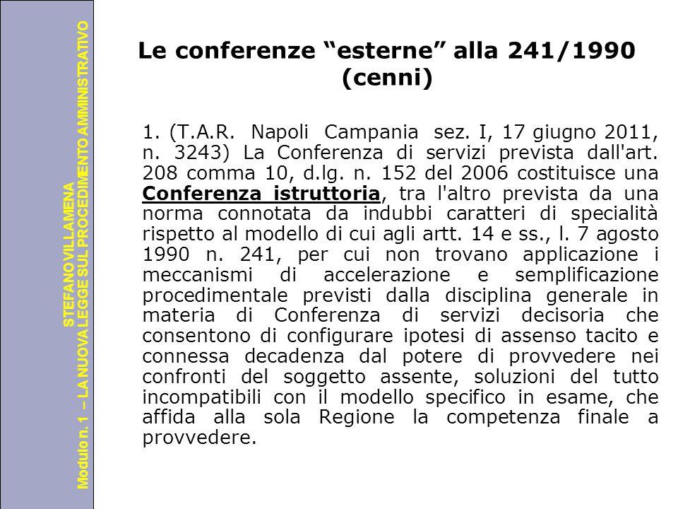 Le conferenze esterne alla 241/1990 (cenni)