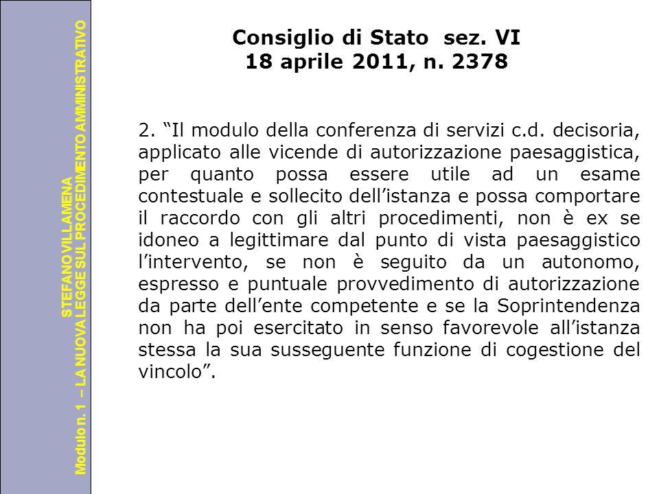Consiglio di Stato sez. VI 18 aprile 2011, n. 2378