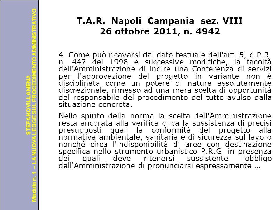 T.A.R. Napoli Campania sez. VIII 26 ottobre 2011, n. 4942