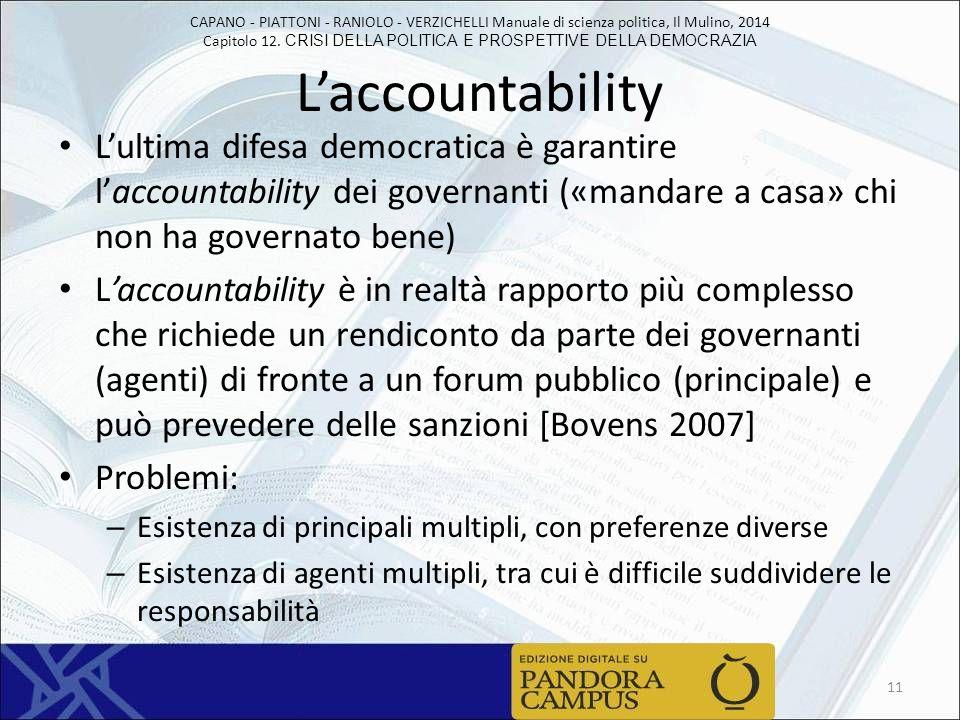 L'accountability L'ultima difesa democratica è garantire l'accountability dei governanti («mandare a casa» chi non ha governato bene)