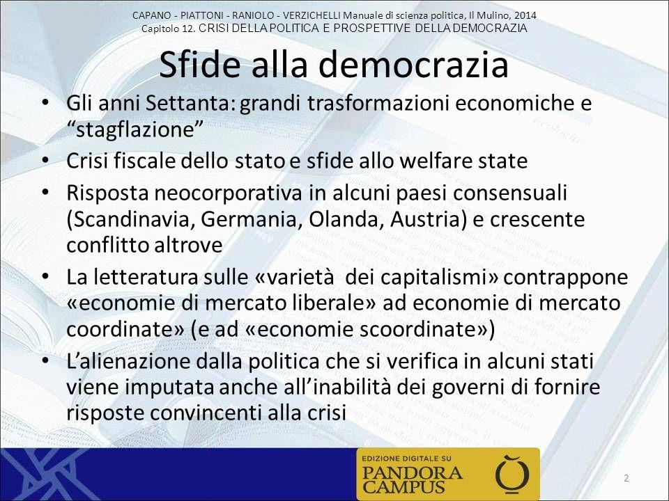 Sfide alla democrazia Gli anni Settanta: grandi trasformazioni economiche e stagflazione Crisi fiscale dello stato e sfide allo welfare state.