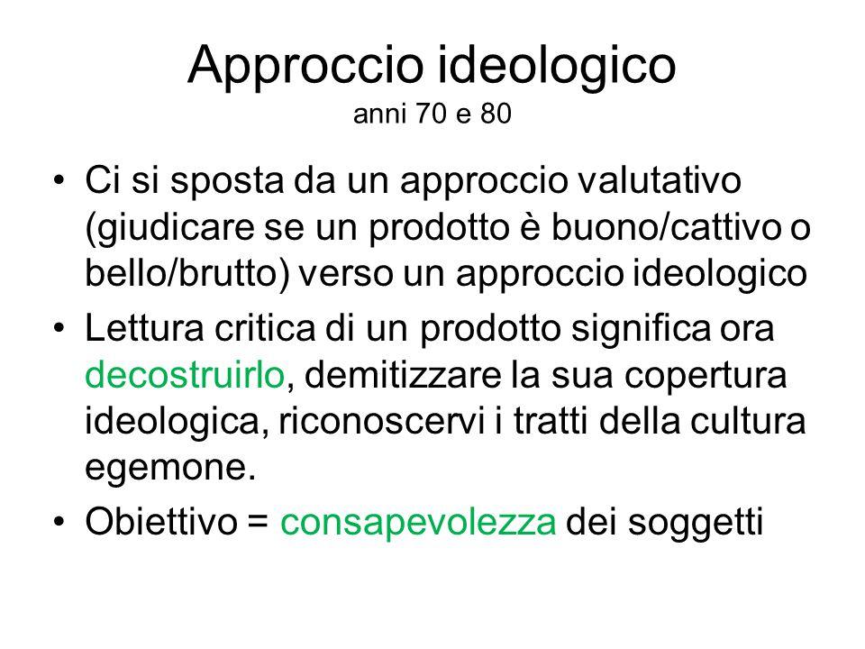 Approccio ideologico anni 70 e 80