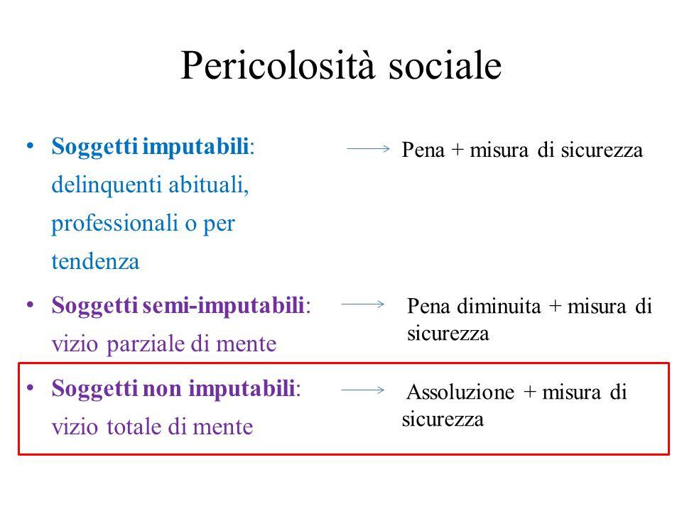Pericolosità sociale Soggetti imputabili: delinquenti abituali, professionali o per tendenza. Soggetti semi-imputabili: vizio parziale di mente.