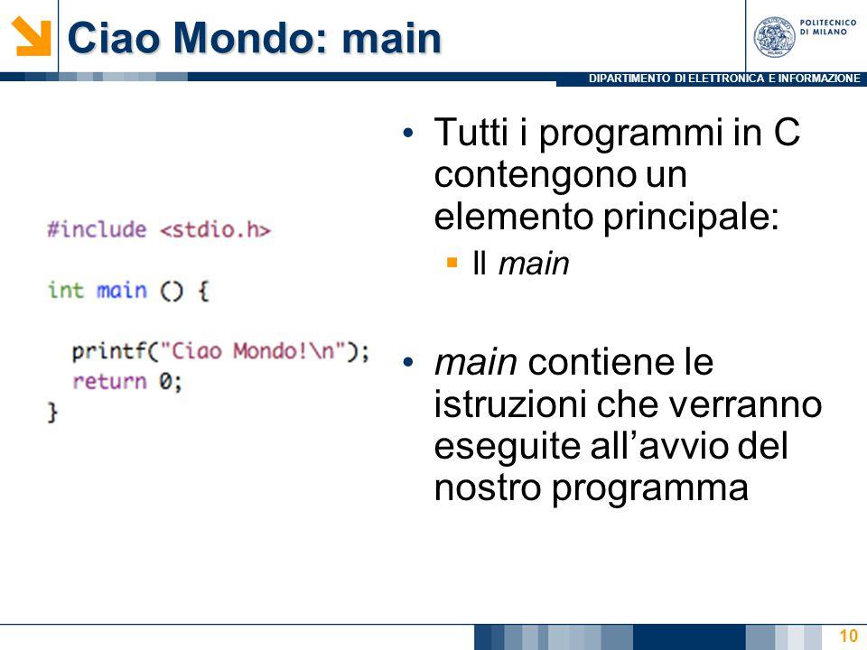 Ciao Mondo: main Tutti i programmi in C contengono un elemento principale: Il main.