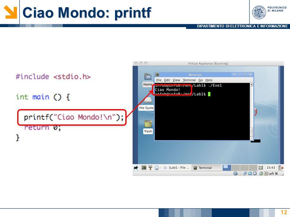Ciao Mondo: printf