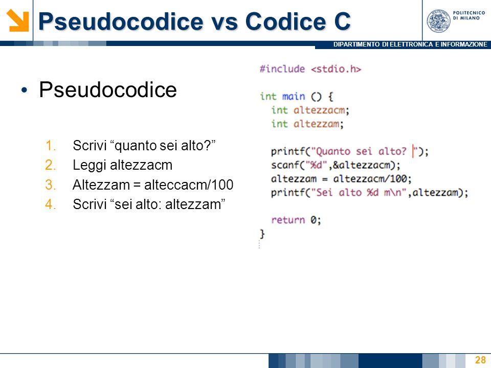 Pseudocodice vs Codice C