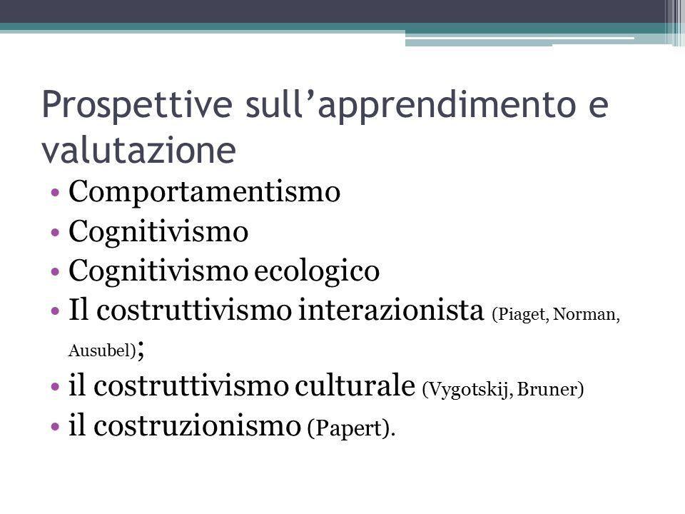 Prospettive sull'apprendimento e valutazione