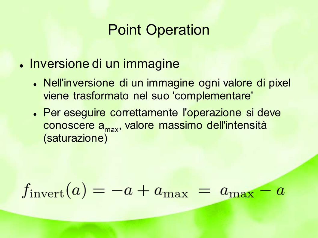 Point Operation Inversione di un immagine
