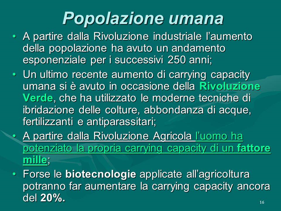 Popolazione umana A partire dalla Rivoluzione industriale l'aumento della popolazione ha avuto un andamento esponenziale per i successivi 250 anni;