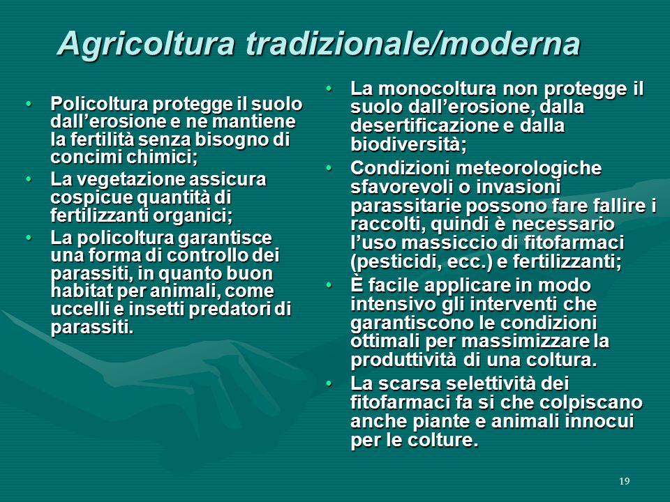 Agricoltura tradizionale/moderna