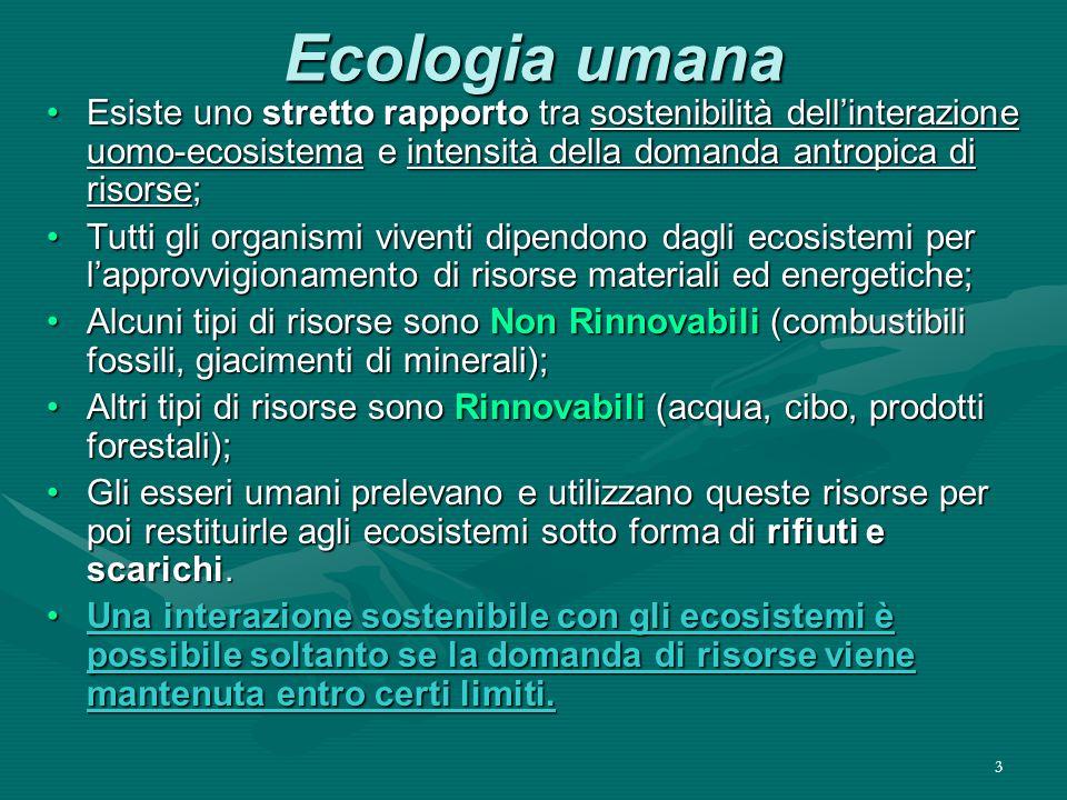 Ecologia umana Esiste uno stretto rapporto tra sostenibilità dell'interazione uomo-ecosistema e intensità della domanda antropica di risorse;