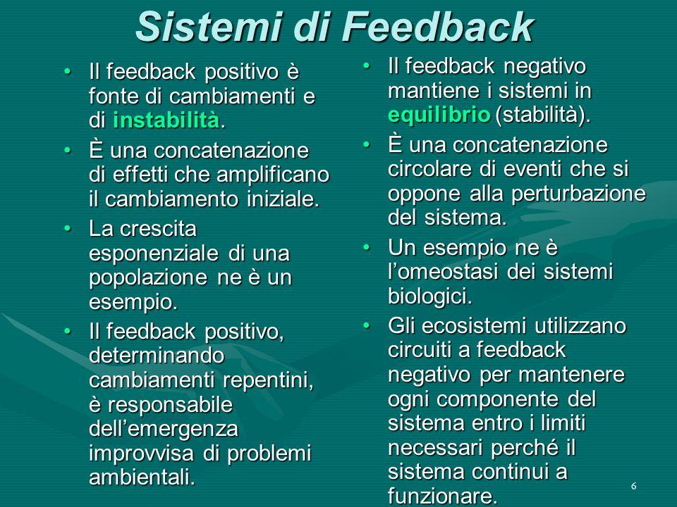 Sistemi di Feedback Il feedback negativo mantiene i sistemi in equilibrio (stabilità).