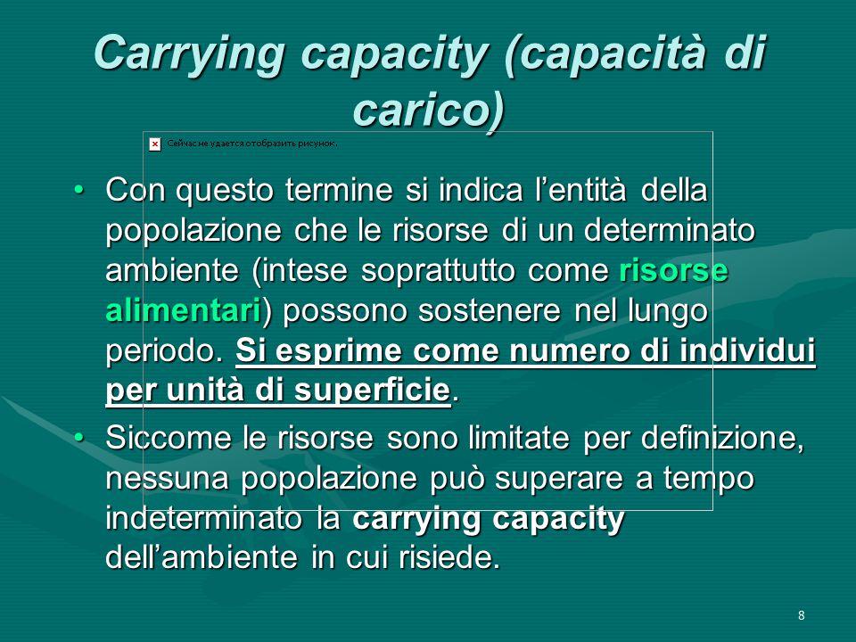 Carrying capacity (capacità di carico)