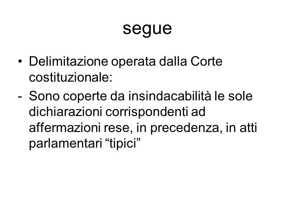 segue Delimitazione operata dalla Corte costituzionale: