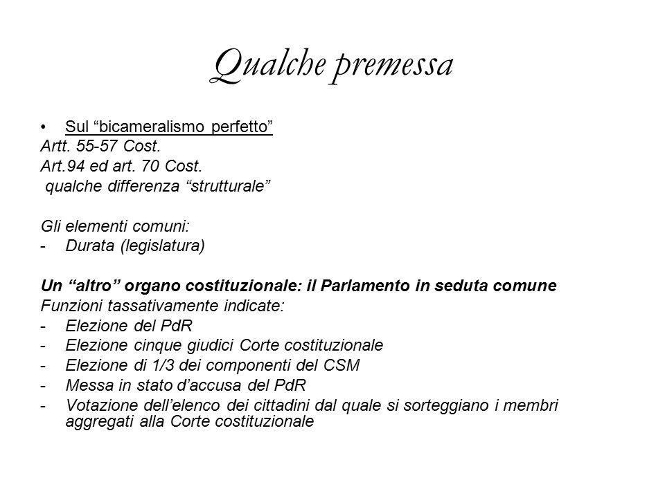 Qualche premessa Sul bicameralismo perfetto Artt. 55-57 Cost.