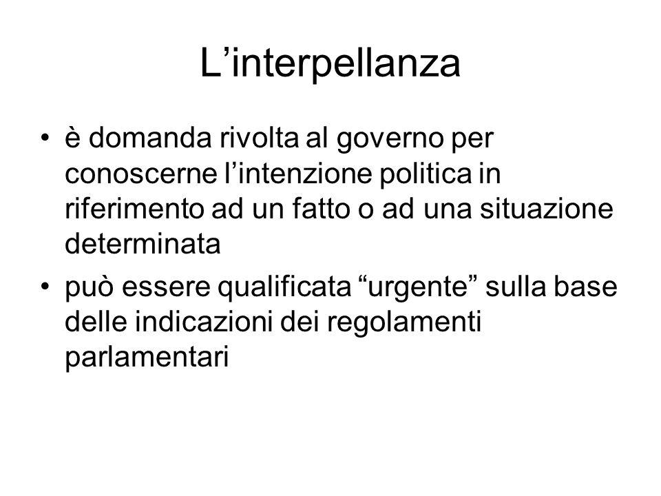 L'interpellanza è domanda rivolta al governo per conoscerne l'intenzione politica in riferimento ad un fatto o ad una situazione determinata.