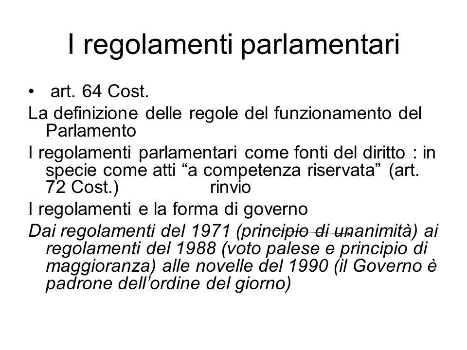 I regolamenti parlamentari