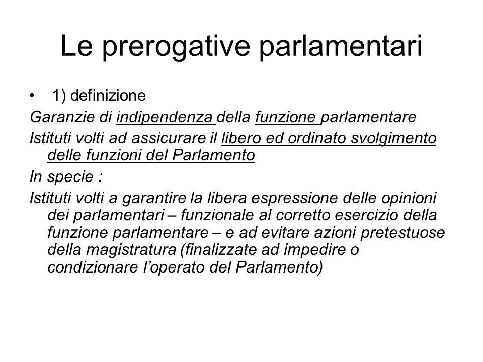 Le prerogative parlamentari