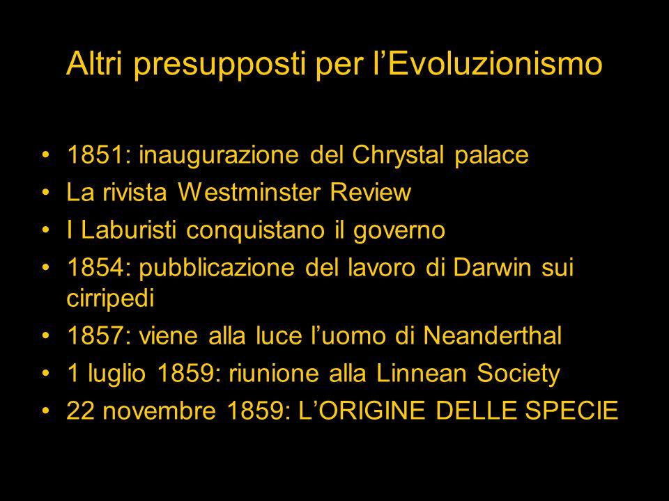 Altri presupposti per l'Evoluzionismo