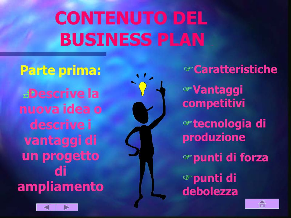 CONTENUTO DEL BUSINESS PLAN (parte prima)