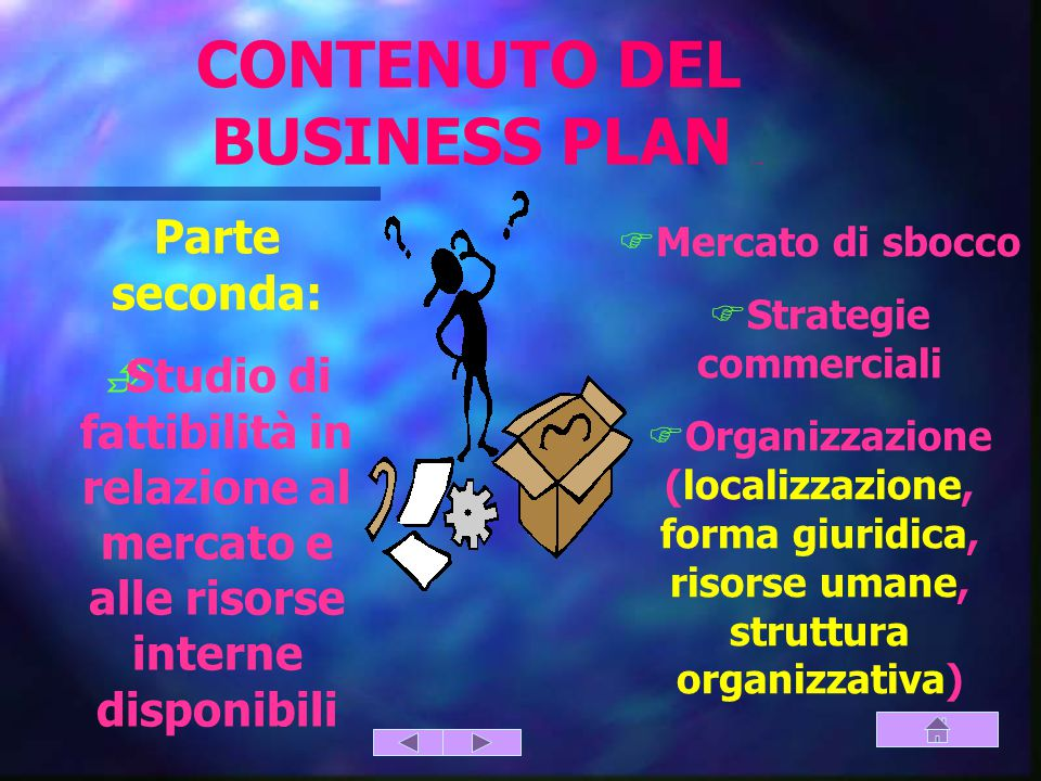 CONTENUTO DEL BUSINESS PLAN (parte seconda)