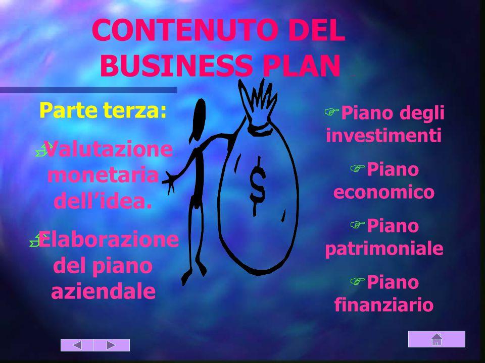 CONTENUTO DEL BUSINESS PLAN (parte terza)