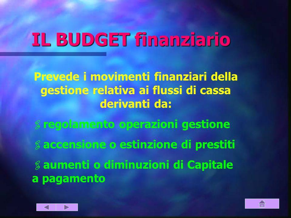 IL BUDGET finanziario Prevede i movimenti finanziari della gestione relativa ai flussi di cassa derivanti da: