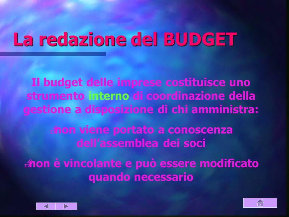 La redazione del BUDGET (strumento di coordinazione)