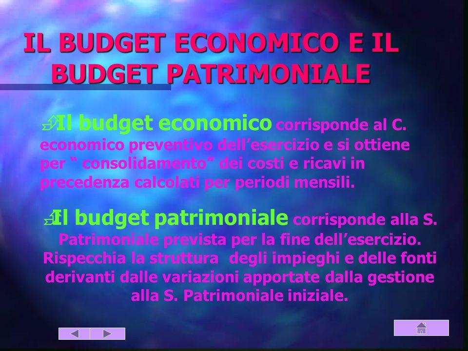 IL BUDGET ECONOMICO E IL BUDGET PATRIMONIALE
