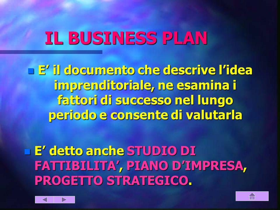 IL BUSINESS PLAN E' il documento che descrive l'idea imprenditoriale, ne esamina i fattori di successo nel lungo periodo e consente di valutarla.
