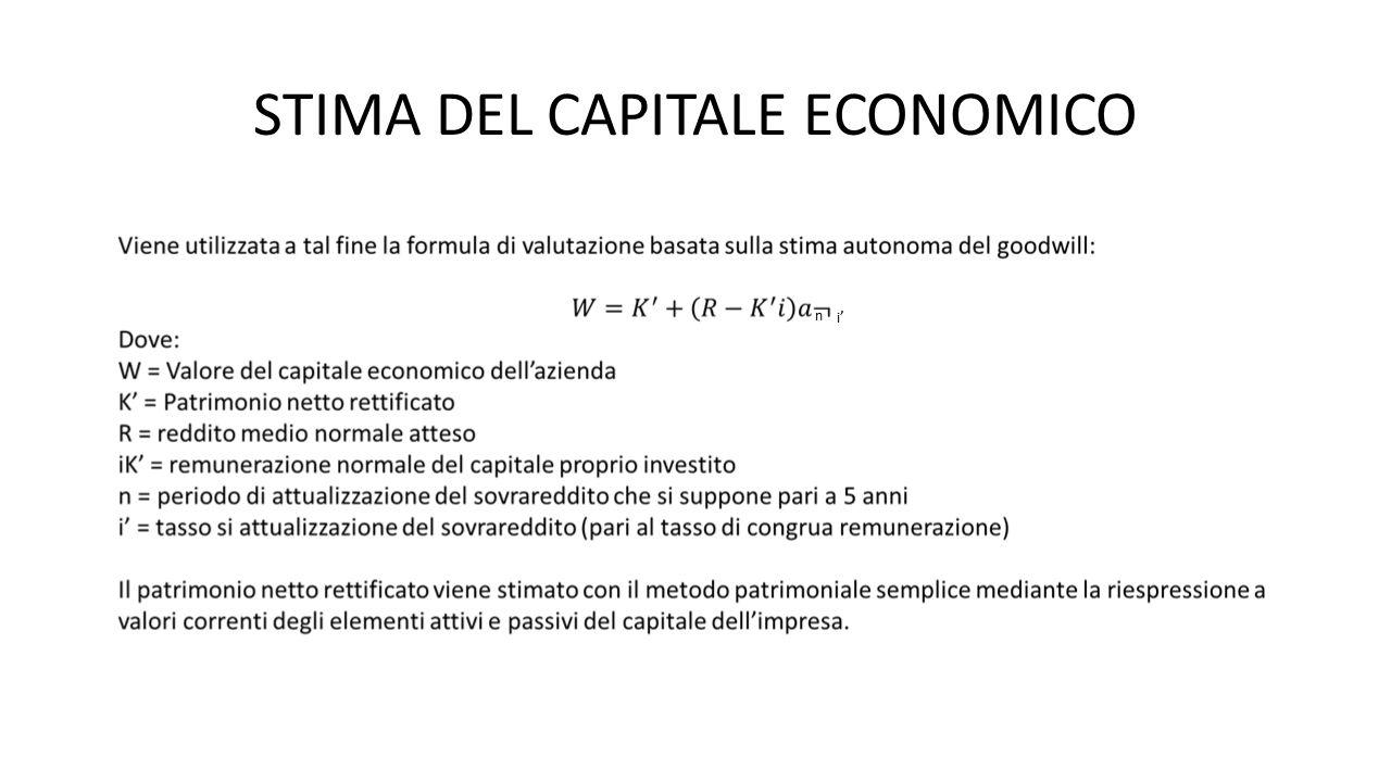 STIMA DEL CAPITALE ECONOMICO