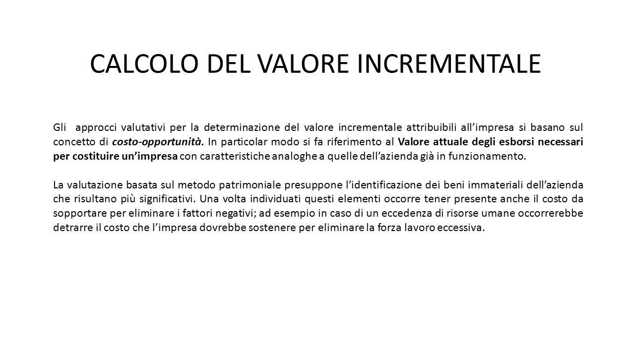 CALCOLO DEL VALORE INCREMENTALE