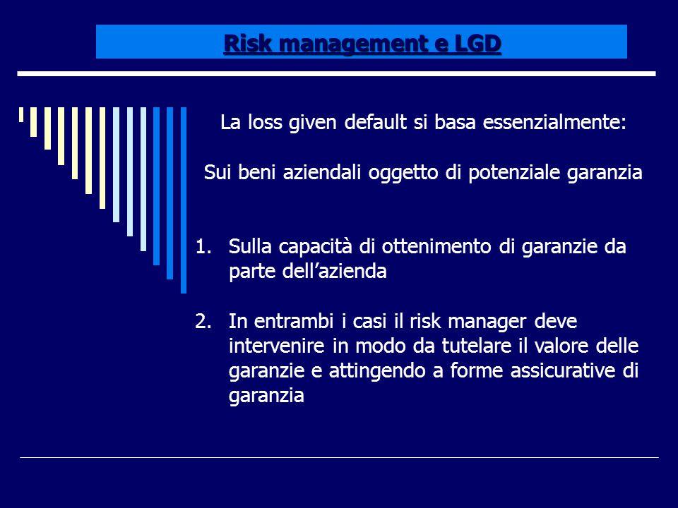 Risk management e LGD La loss given default si basa essenzialmente: