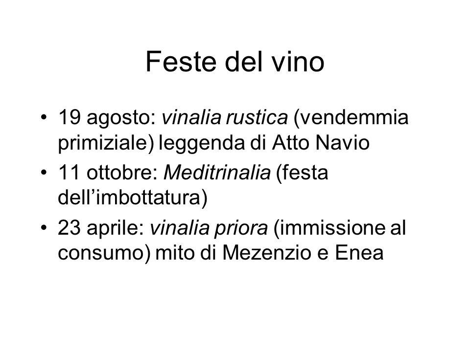 Feste del vino 19 agosto: vinalia rustica (vendemmia primiziale) leggenda di Atto Navio. 11 ottobre: Meditrinalia (festa dell'imbottatura)