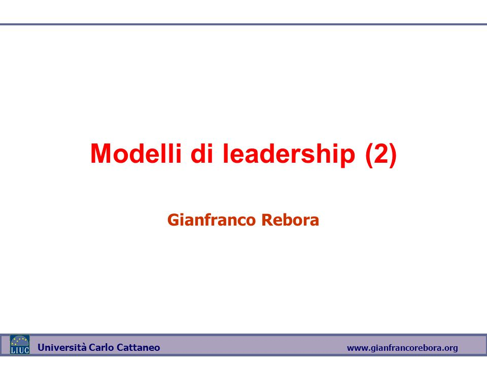 Modelli di leadership (2)